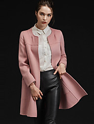 Xuanyan Women's Casual/Daily Simple CoatSolid Round Neck Long Sleeve Winter Pink / Green / Yellow Wool / Polyester