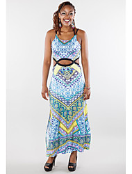 Women's Going out / Casual/Daily Simple Sheath Dress,Solid / Geometric Round Neck Maxi Sleeveless Blue / Red Spandex Summer / FallMid