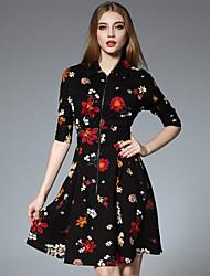 JOJO HANS Women's Formal Chinoiserie A Line DressFloral Shirt Collar Above Knee  Length Sleeve Black Cotton / Spandex Fall Mid Rise Inelastic