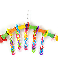 Multi-Color Portable Wood Plastic Bird Toys 1pc