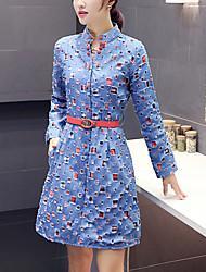 Trapèze / Denim Robe Femme Sortie / Décontracté / Quotidien Chic de Rue,Mosaïque Mao Au dessus du genou Manches Longues BleuCoton /