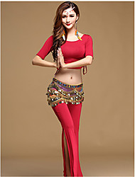 Belly Dance Outfits Women's Training Modal 3 Pieces Half Sleeve Dropped Top / Waist Belt / Pants