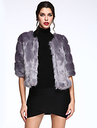 Women's Casual/Daily Simple Fur Coat,Solid Long Sleeve Winter Pink / White / Black / Gray / Purple Faux Fur Thick