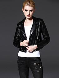 Женский На каждый день Однотонный Куртка Лацкан с тупым углом,Простое Осень Черный Длинный рукав,Полиэстер,Средняя