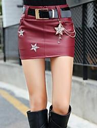 Feminino Saias-Bodycon Estampado Cintura Alta Casual Acima do Joelho Zíper PU Micro-Elástico Outono / Inverno