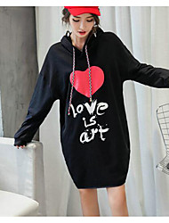 16C08 autumn and winter fashion casual original Sign loose big yards thick cotton hooded sweater pocket dress
