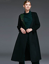 Xuanyan Women's Casual/Daily Simple CoatSolid V Neck Long Sleeve Winter Black / Green Wool