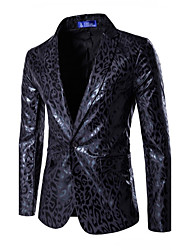 Men's European Style Slim Leopard Print A Button Blazer Leopard Notch Lapel Long Sleeve Blue / White Cotton / Polyester