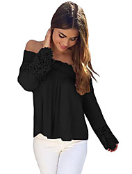 Women's Off The Shoulder Crochet Lace Long Sleeve Off Shoulder Top