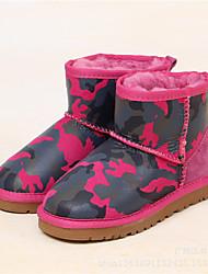 Boy's Boots Winter Others Leather Outdoor Flat Heel Blue Brown Green Gray Beige Fuchsia Walking