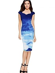 Women's Party/Cocktail Vintage Print / Jacquard Sweetheart Midi Short Sleeve Bodycon Midi One Step Pencil Dress