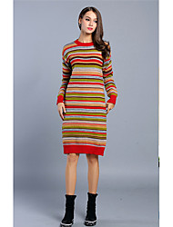 Women's Going out / Casual/Daily / Holiday Vintage / Boho / Cute Shift / Sweater Dress,Striped Round Neck Knee-length Long Sleeve Red