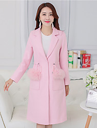 Women's Going out / Party/Cocktail Vintage / Street chic Coat,Solid Shirt Collar Long Sleeve All Seasons Pink / White Wool / Cotton Medium
