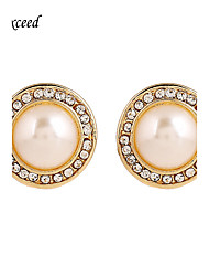 Brand Newest Exquisite Round Crystal Imitation Pearl Stud Earring For Ladies ER119662