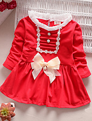 Girl's Casual/Daily Patchwork Dress,Cotton Spring Long Sleeve