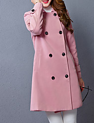 Women's Plus Size Simple Coat,Solid Shirt Collar Long Sleeve Winter Red Wool Thick