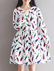 Women's Slim chic A Line DressPrint Round Neck Knee-length Long Sleeve White Cotton Spring Mid Rise Inelastic Medium