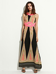 Women's Casual/Daily Vintage Cut Out Sheath Swing Dress,Color Block Round Neck Maxi Sleeveless Pink