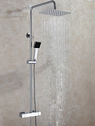 Luxury Exposed Shower Mixer Set , Thermostatic Bath Shower Faucet Valve 30X20 cm Air Drop Rainfall Shower Head Included