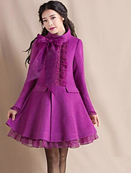 Women's Going out / Casual/Daily / Party/Cocktail Cute Coat,Solid Stand Long Sleeve Winter Purple Wool Thick