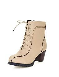 Women's Solid Pu Kitten-Heels Round Closed Toe Zipper Boots