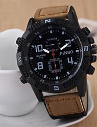 Мужской Спортивные часы Армейские часы Кварцевый Кожа Группа Коричневый
