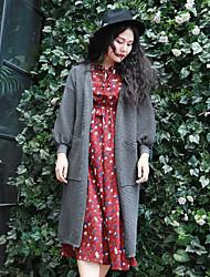 Mujer Largo Cardigan Casual/Diario Simple,Un Color Gris Escote en Pico Manga Larga Poliéster Otoño / Invierno Grueso Microelástico