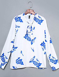 Women's New Style Printing Chiffon Bowknot Long Sleeve louse OL