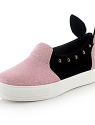 Women's Loafers & Slip-Ons Spring Summer Fall Comfort Leatherette Casual Low Heel Rivet Pink Silver Gold