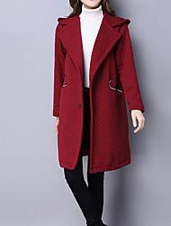 Mujer Vintage / Simple / Chic de Calle Noche / Casual/Diario / Trabajo Un Color Abrigo,Con Capucha Manga Larga Primavera / Invierno