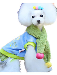 Dog Clothes/Jumpsuit Blue Dog Clothes Winter Color Block Cute