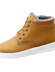 Men's Boots Spring Fall Comfort PU Casual Flat Heel Lace-up Black Blue Khaki