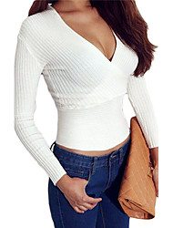 Women's Sexy Crop Plunging Cross V Neck Stretch Knitwear Top