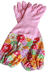 Two Pack  Sell Lengthened Cotton Warm Gloves Then Take The Flower Sleeve Elastic Rubber Gloves