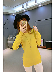 Women's Casual/Daily Simple Short Pullover,Solid Blue / Gray / Yellow Boat Neck Long Sleeve Cashmere Fall / Winter Medium Micro-elastic