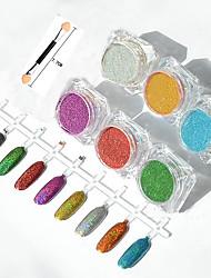 6pcs / set poudre miroir miroir aurora galvanoplastie poudre d'argent laser coloré couleur paillettes de métal de manucure