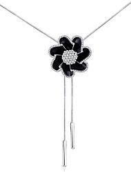 Feminino Colares com Pendentes Y-colares Imitação de Diamante Liga Básico Floral Pingente Moda Preto Jóias ParaCasamento Festa Diário