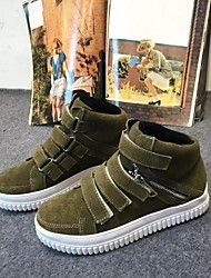 Women's Boots Winter Suede Casual Platform Creepers Magic Tape Black Green Walking