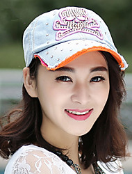 Korean The Of Skull-Style Diamond-Studded Washing Denim Baseball Cap Ms. Leisure Shade Cap