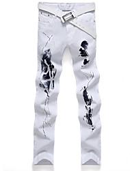 Hombre Tallas Grandes Corte Recto Vaqueros Pantalones,Estampado Casual/Diario Cosecha / Chic de Calle Retazos Tiro Medio Cremallera