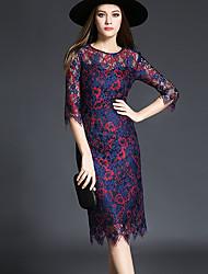 Feminino Tubinho Vestido, Para Noite Sensual Estampado Decote Redondo Altura dos Joelhos Manga ¾ Azul Poliéster Outono / InvernoCintura