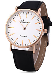 Geneva Business Male Quartz Watch with Leather Band