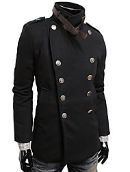 Men's Going out / Beach / Holiday Simple / Street chic Trench Coat,Solid Long Sleeve Spring / Fall Black / Brown / Gray Wool Medium