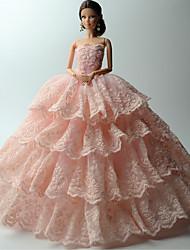 Fête / Soirée Robes Pour Poupée Barbie Rose Couleur Pleine / Lace Robes Pour Fille de Doll Toy