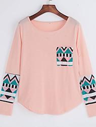 Damen Standard Pullover Retro Niedlich Patchwork Blau Rosa Weiß Orange Rundhalsausschnitt Langarm Baumwolle Herbst Mittel Mikro-elastisch