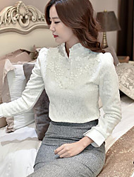 Feminino Camisa Social Para Noite / Casual Simples Outono,Sólido Branco / Preto Seda Lapela Chanfrada Manga ¾ Média
