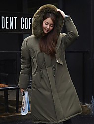 Women's Long Down Coat,Cute / Chinoiserie Formal / Club Solid-Cotton Polypropylene Long Sleeve Hooded Black / Green