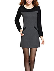Women's Casual/Daily Sophisticated Sheath Dress,Color Block Round Neck Above Knee Long Sleeve Red / Gray Polyester Fall / Winter Mid Rise