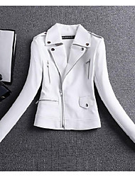 Women's Going out / Casual/Daily / Party/Cocktail Simple Leather Jackets,Solid Shirt Collar Long Sleeve Fall / Winter White PU Medium