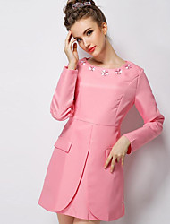 European 2015 autumn wear new dress set auger long-sleeved dress of cultivate one's morality show thin waist receive A word